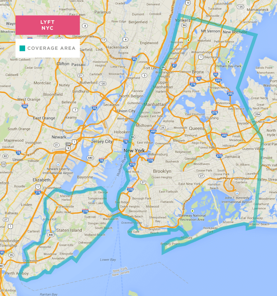 new york city lyft coverage map and promo code. Black Bedroom Furniture Sets. Home Design Ideas