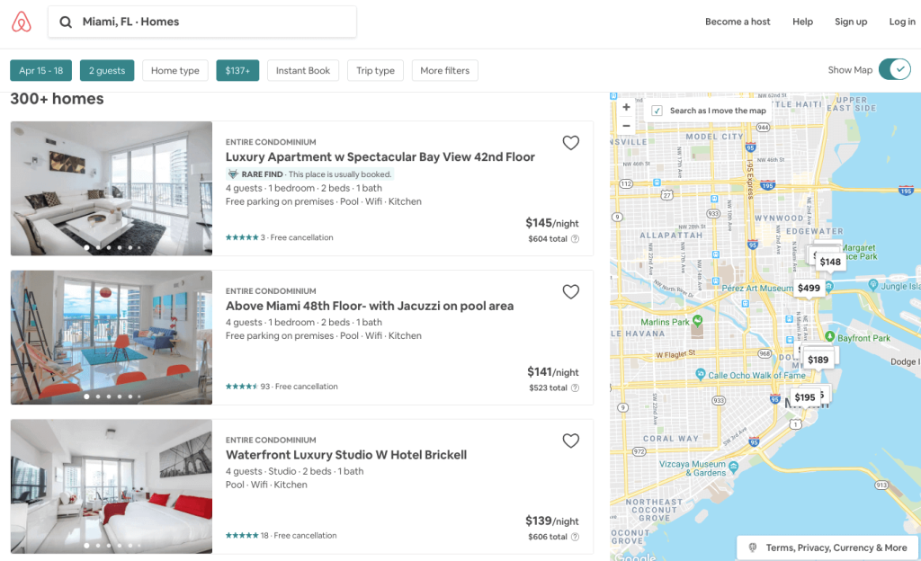 A screenshot of available airbnb homes in Miami, Florida
