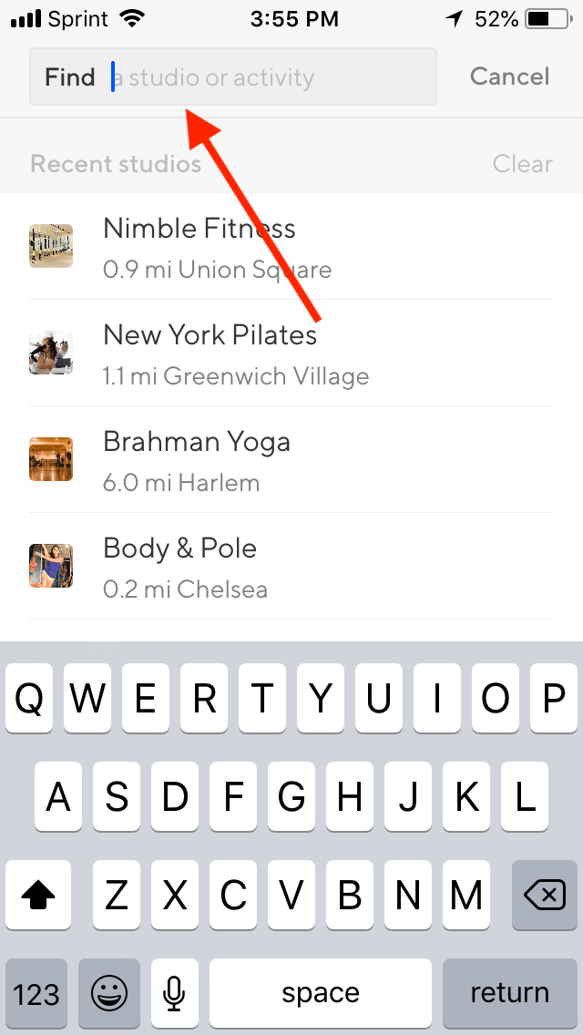 How to Pick the Best Classes from the ClassPass Schedule: Screenshot of the search bar on ClassPass app