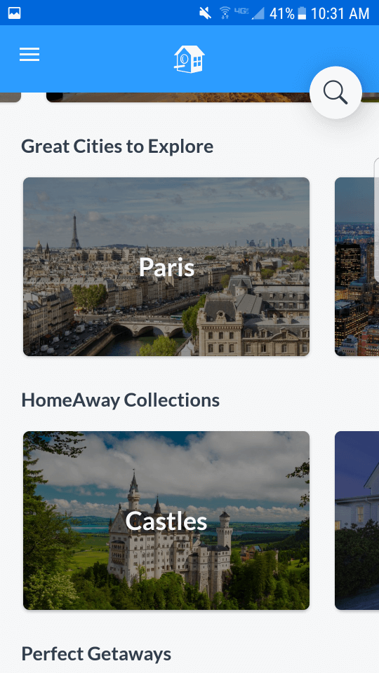 HomeAway App: Screenshot of search options