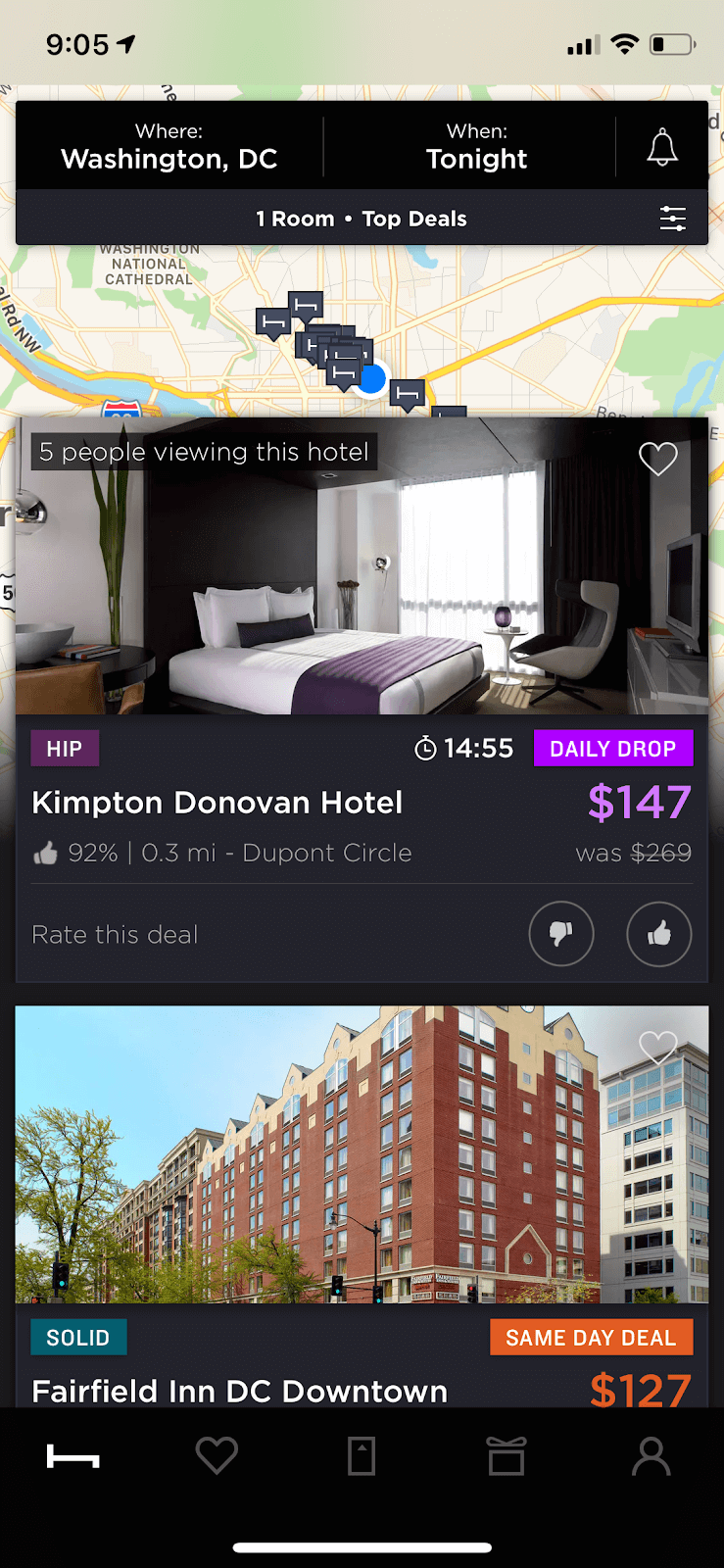 Last Minute Hotel: Screenshot of search results on app