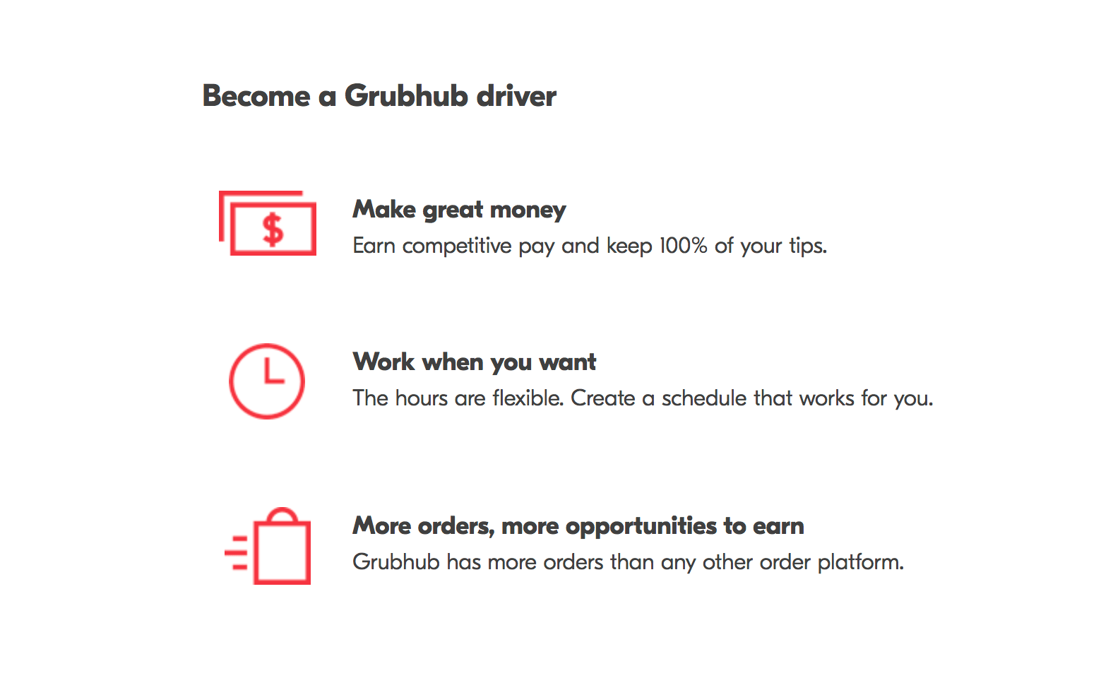 Become a Grubhub driver graphic