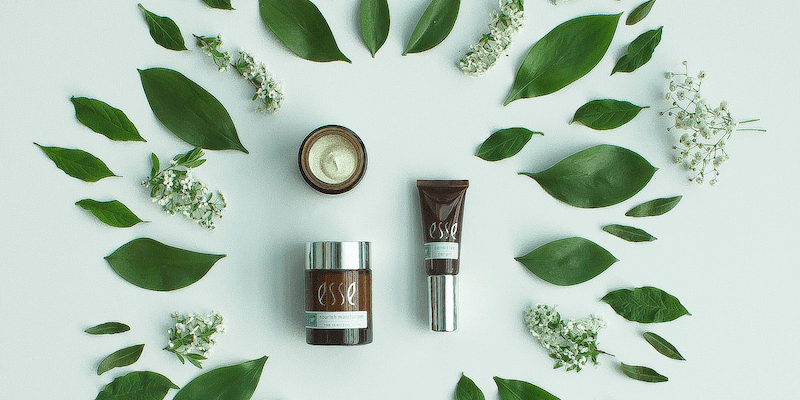 Direct Sales Companies: Skincare products surrounded by leaves