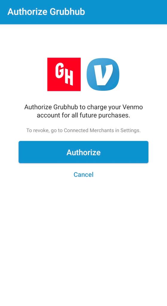 Authorize Grubhub on Venmo app