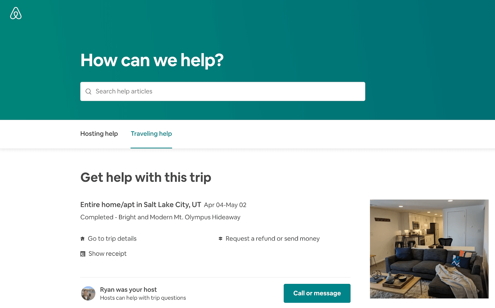 Airbnb phone number: the webpage to contact your host on Airbnb