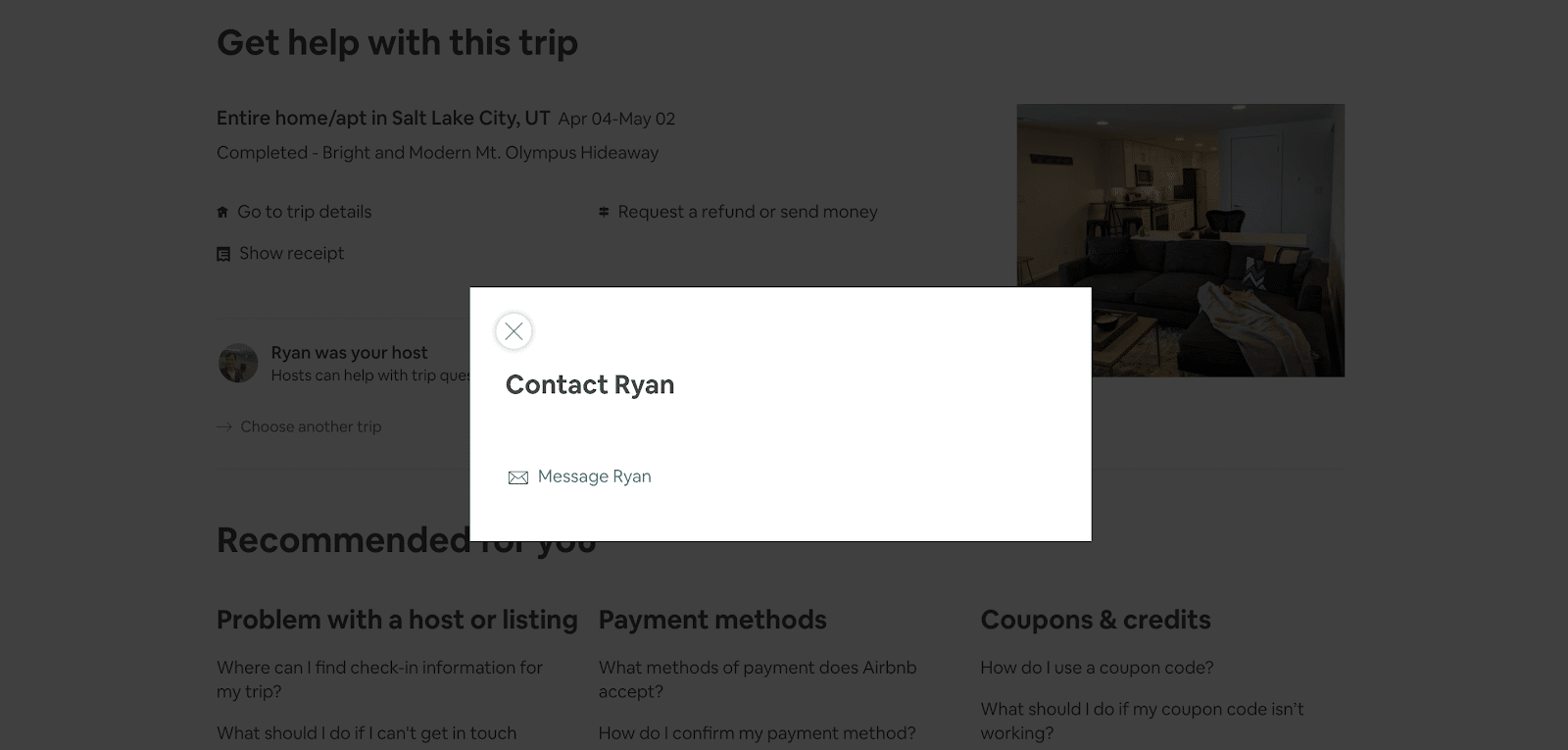Airbnb phone number: the pop up window to contact your host on Airbnb