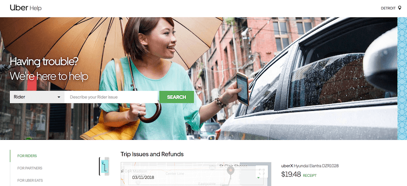 Delete Uber account: the Uber Help page for desktop