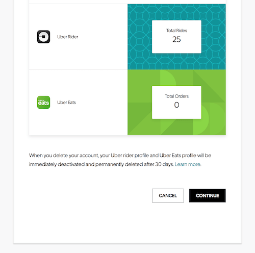 Delete Uber account: Your ride stats page where you must click continue to delete
