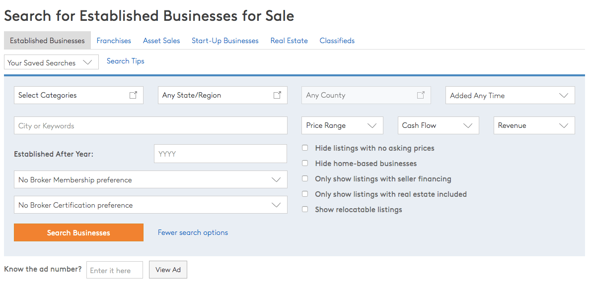 BizBuySell: the search feature for established businesses