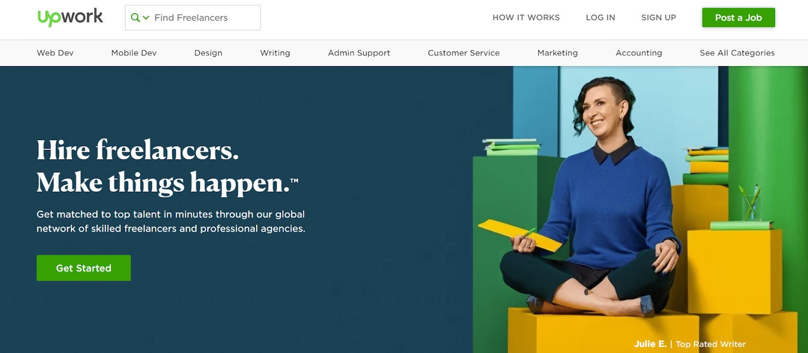 Zirtual: the UpWork homepage