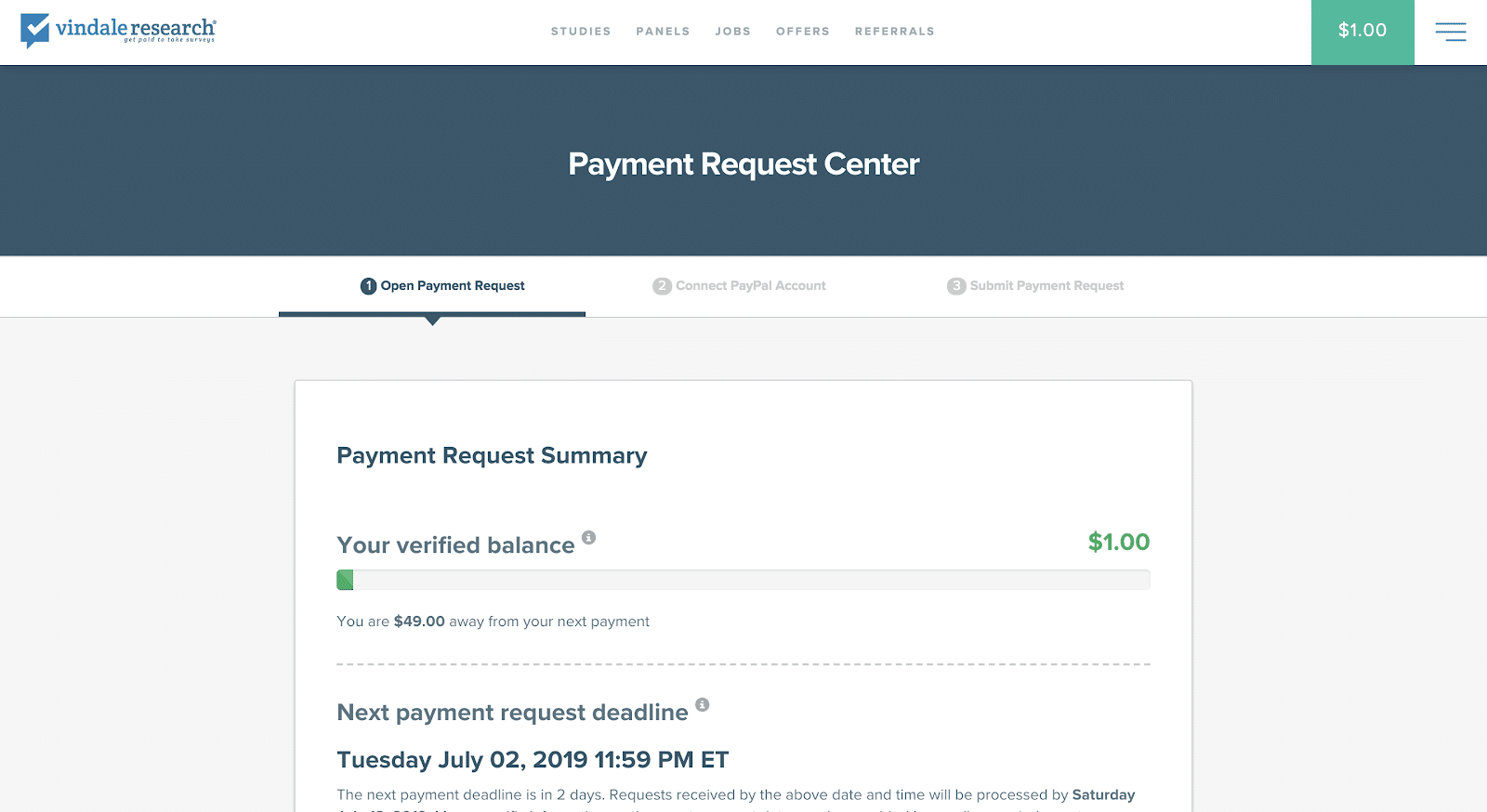 Screenshot of Vindale Research Payment Request Center