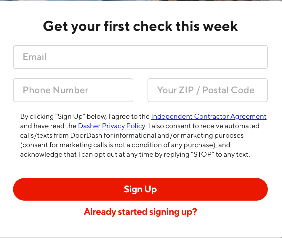 DoorDash reviews: the web page to sign up to drive for DoorDash