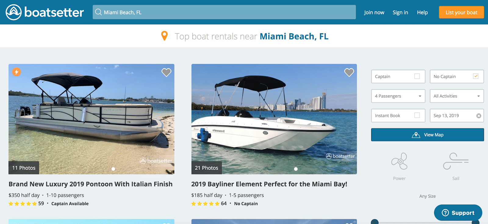 Boatsetter search results in Miami