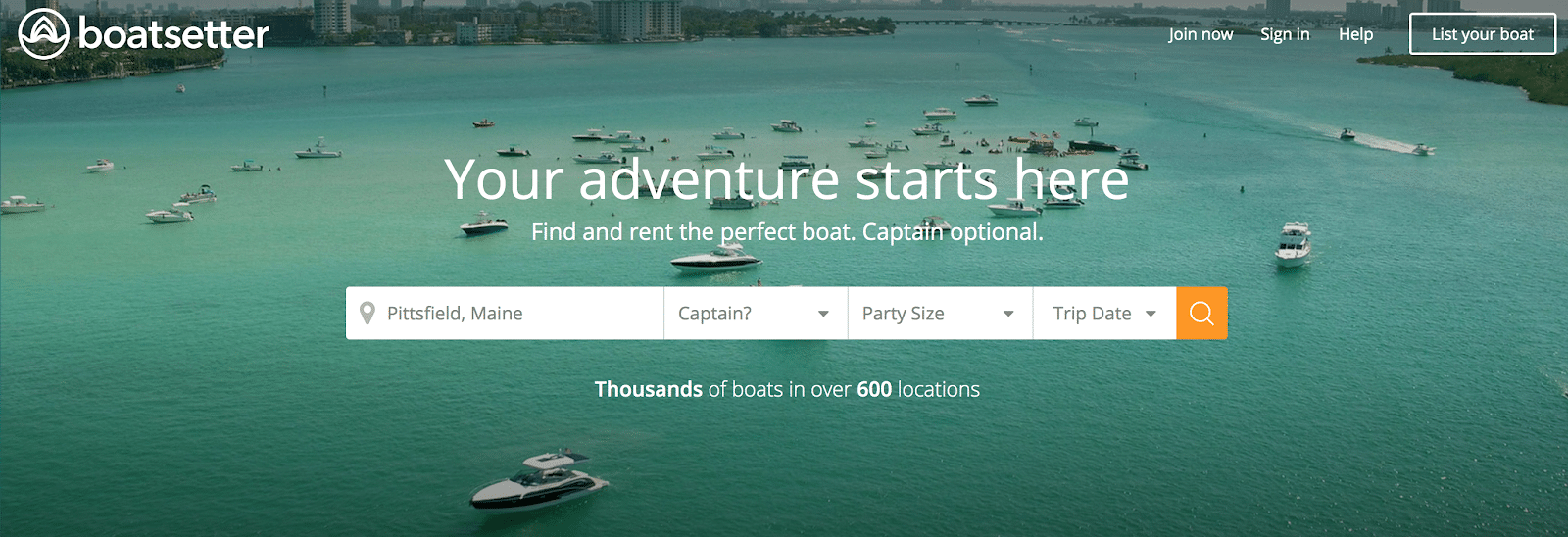 Boatsetter homepage