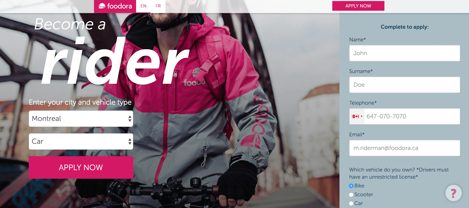The Foodora easy application page to become a courier