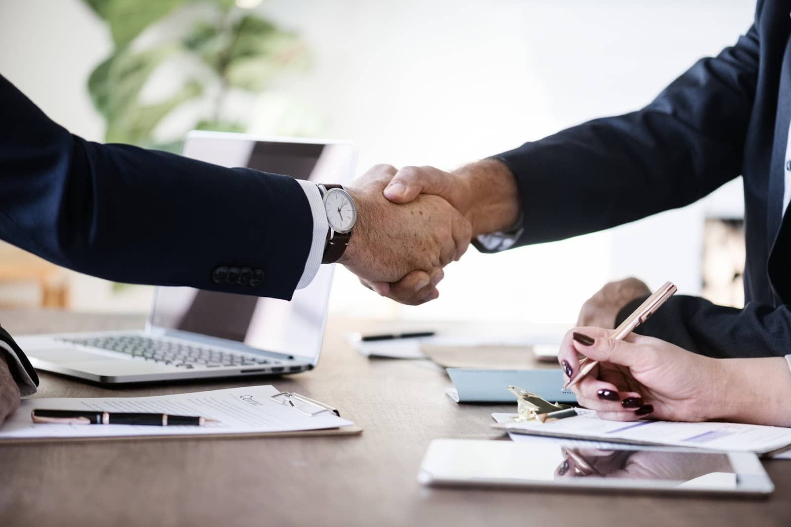 Partnership vs. LLC: two business men shake hands