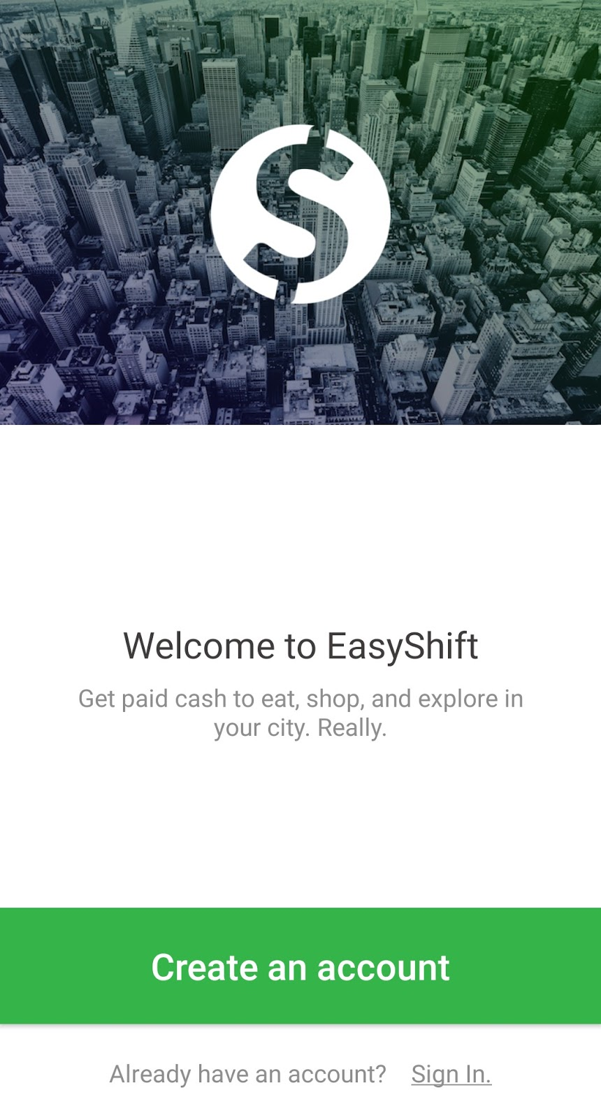 EasyShift create an account page