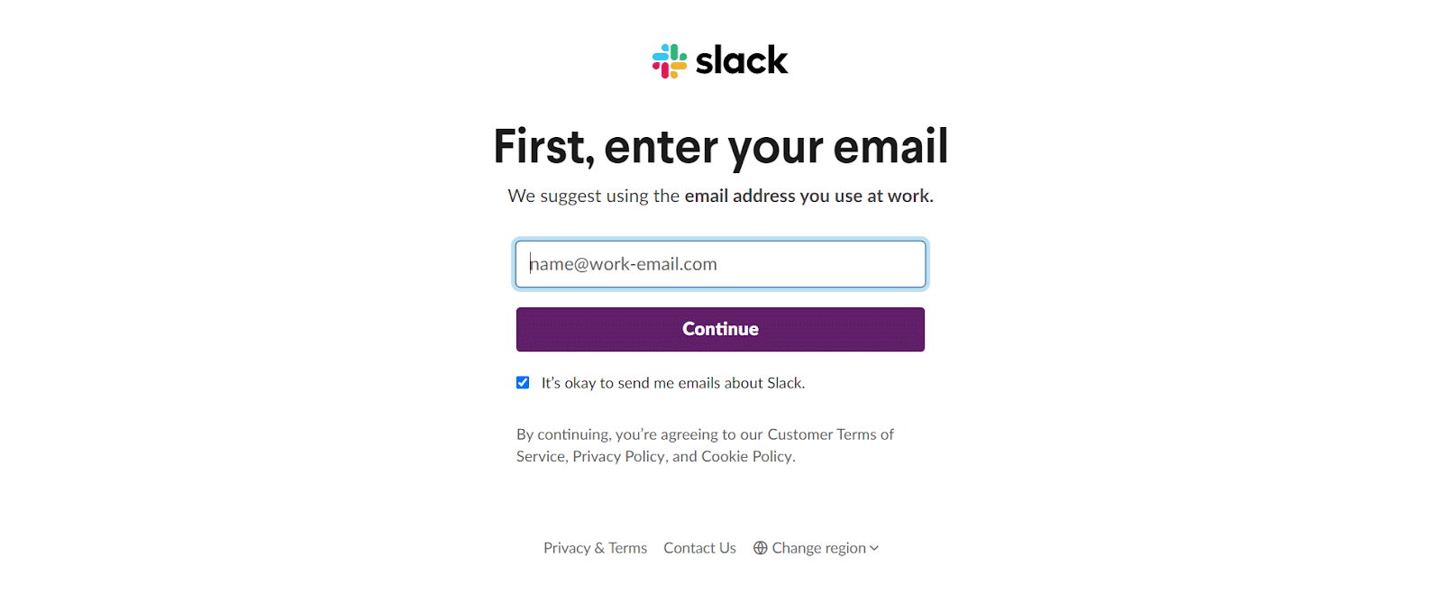 how to use slack: slack sign up page